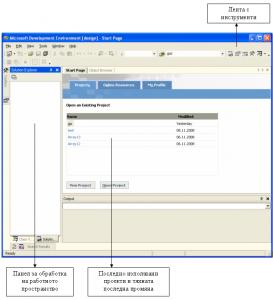 Visual Studio .Net първа страница