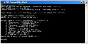 Създаване на база данни с MySQL Client